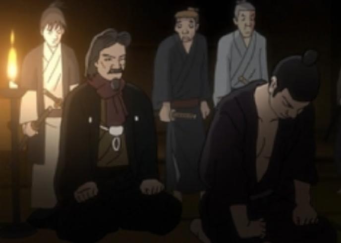 【キャプチャー】アニメ中で小林虎三郎が藩士を説得する場面